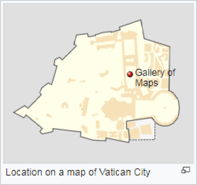 Location on a map of Vatican City