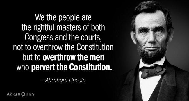 President Abraham Lincoln used his Executive Branch power to defy both the Legislative and Judicial Branches in waging war and freeing slaves