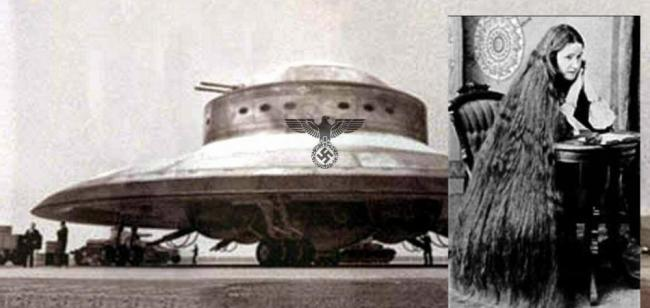 """Last known photograph of Marija Oršić circa 1944 (right) and one of her Sumi """"inspired"""" Nazi occult aircraft (left, foto What does it mean),"""