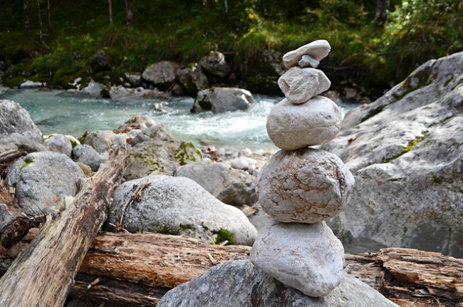 Rock tower by a river in Bavaria