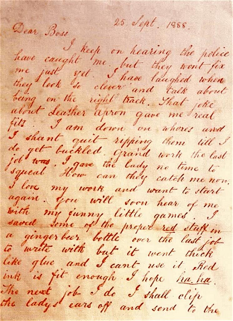 Briefje van Jack the Ripper aan Boss (foto De Bovenkamer)