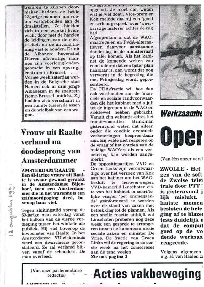 Krantenbericht over Machteld Parlevliet, 13 augustus 1991