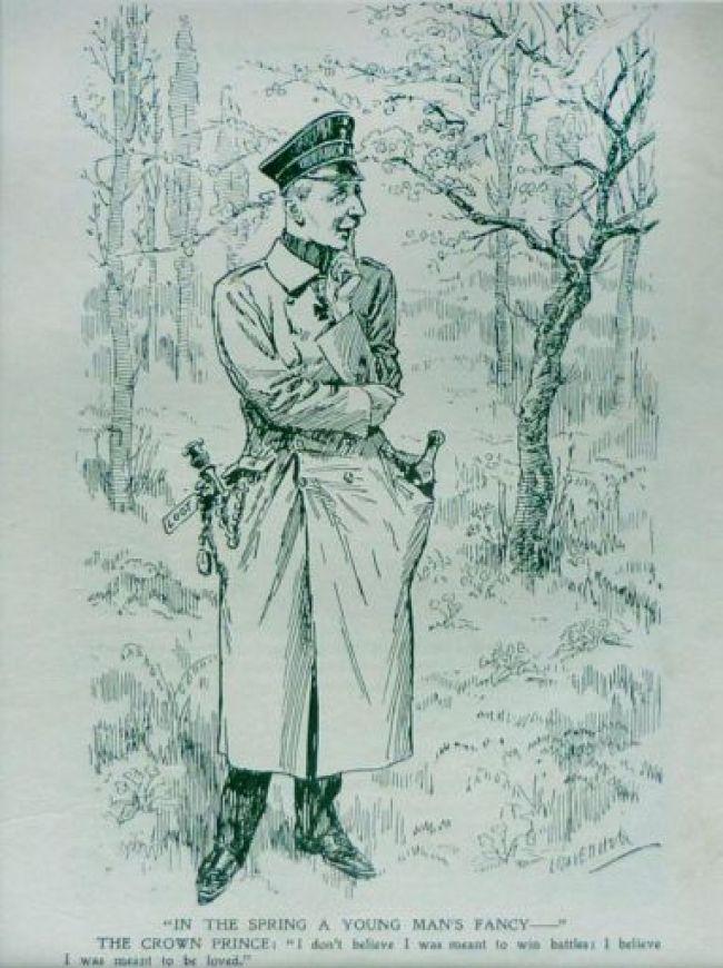Engelse cartoon uit 1919 over de kroonprins, 'voorbestemd om bemind te worden' (foto auteurs