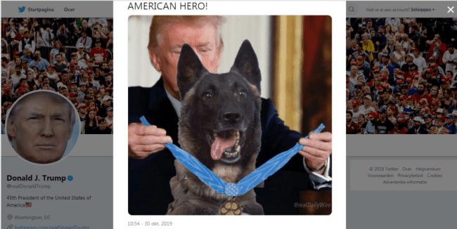 Trump tweet American Hero (foto Twitter)