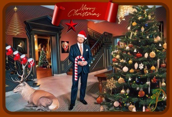 Koning Willem opgetuigd voor zijn kersttoespraak (foto Facebook)
