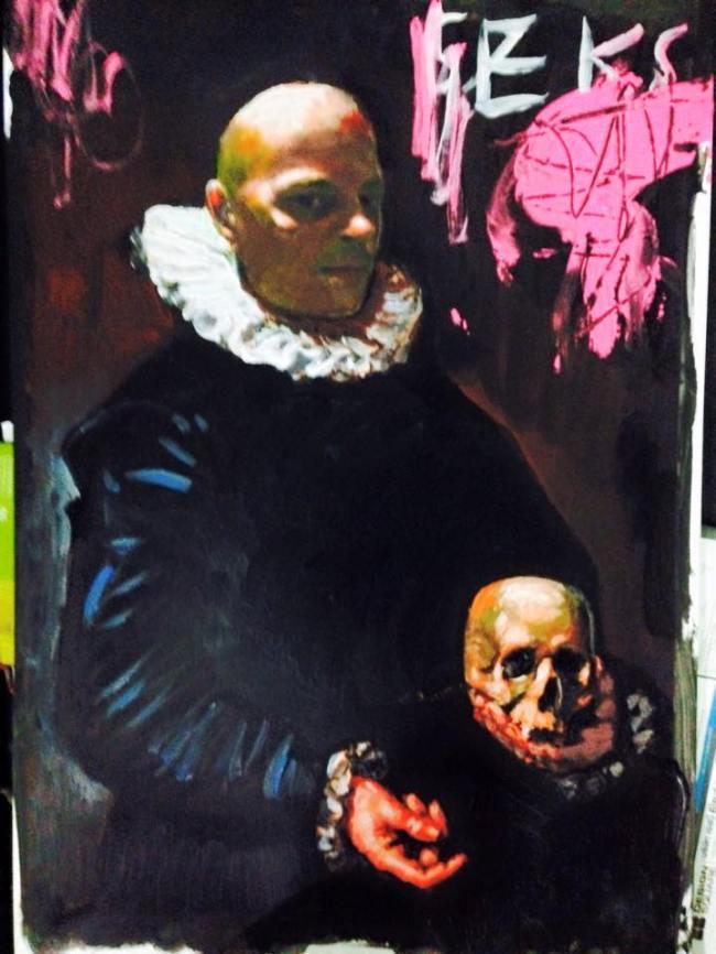 Peter Klashorst - Zelfportret, seks en schedel