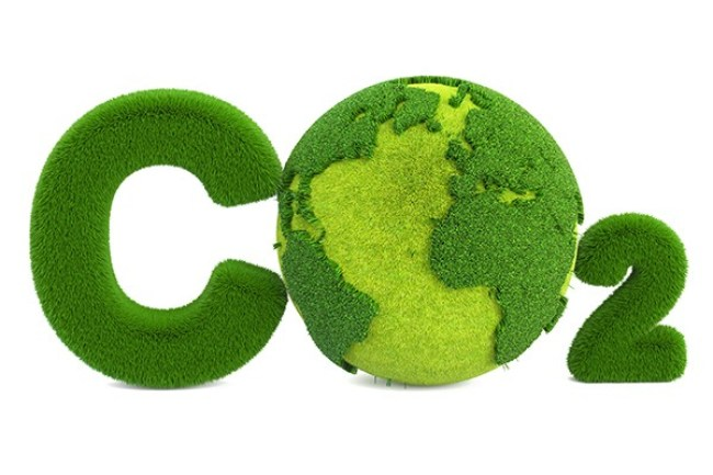 CO2 from grass inscription with globe, eco concept. 3D rendering isolated on white background