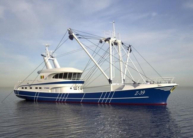 Het ontwerp van een Belgische viskotter, waarvan er drie worden gebouwd, machinefabriek Luyt uit Den Oever voorziet ze van een vislier (foto Luyt)
