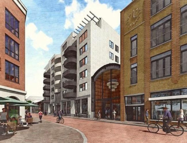 Het nieuwe aangezicht van de Kroonpassage, links in beeld een deel van de nieuwbouw grenzend aan het 'Food Station,' waaraan nu wordt gebouwd, hier is de McDonalds gepland (foto Zeestad)