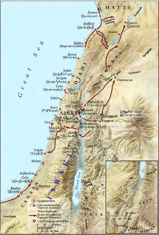 The land of Shasu (Israel) was inhabited by Asiatics (Aamu) around 1300-1200 (II, 174)