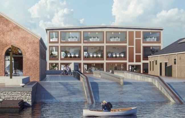 Zicht op gebouw 72 vanaf de scheephelling bij de Museumhaven, de kopse kant wordt opgewerkt met veel meer raampartijen (foto Office Winhov en Van Hoogevest Architecten)