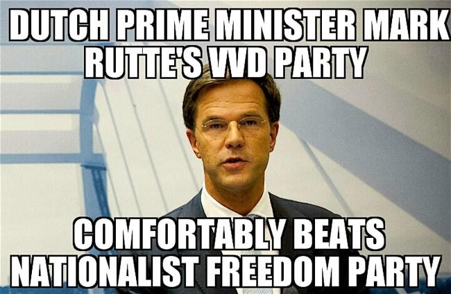 Dutch Prime Minister Mark Rutte's VVD Party comfortably beats Nationalist Freedom Party (foto Memenews.com)