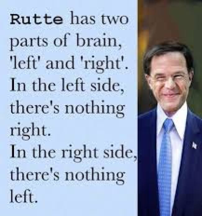 Rutte has two parts of brain 'left' and 'right' (foto Trendsmap.com)