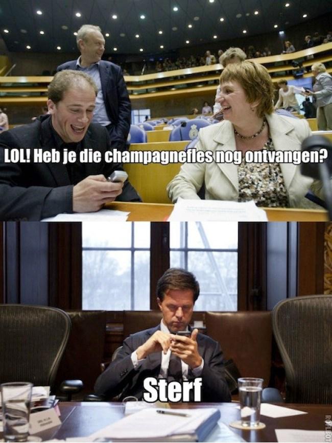 SMS'jes van Rutte aan Samsom (foto Geen Stijl)