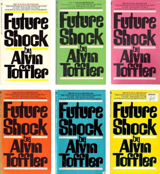 Diverse coloured covers of Alvin Toffler's Future Shock