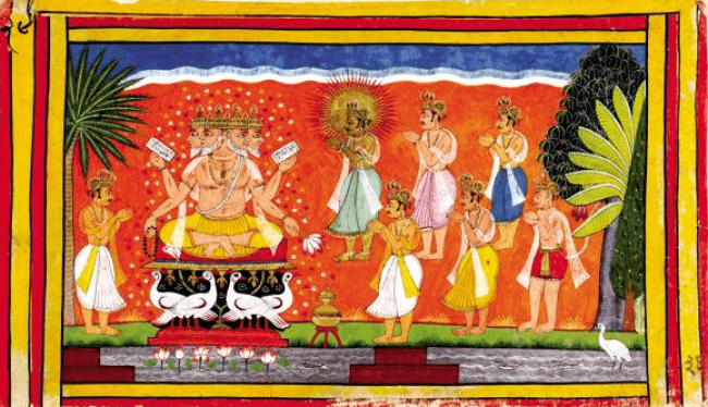 The devas in heaven approach Brahma for help against the rakshasa king, Ravana, an invincible warrior who had a boon from Brahma that no one, except A man could kill him (foto Roli Books)