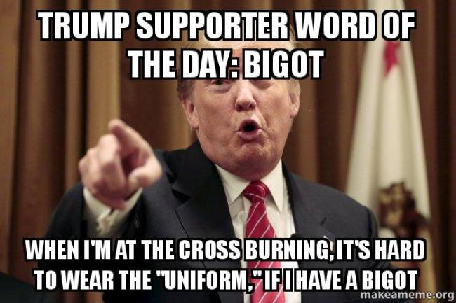 Trump supporter word of the day (foto Make A Meme)