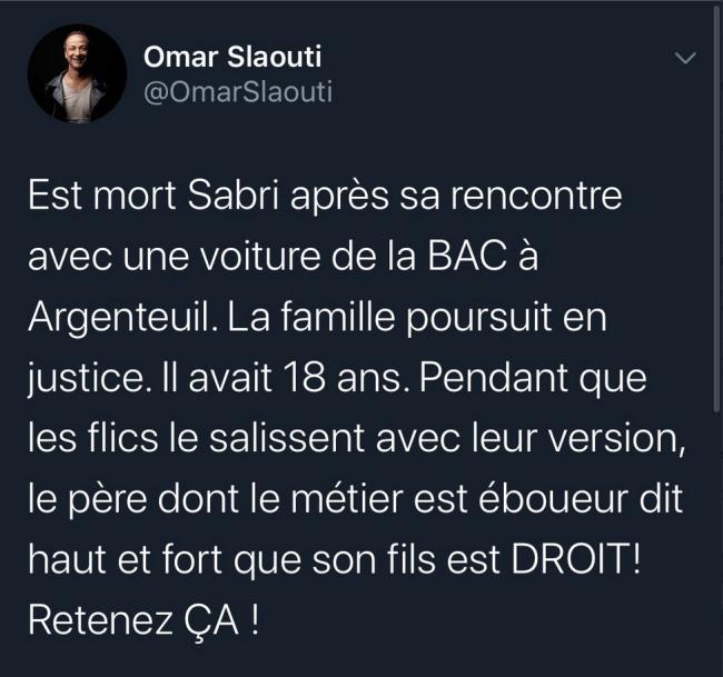 Tweet van Omar Slaouti (foto Twitter)