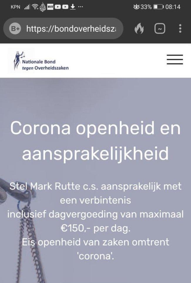 Corona Virus openheid en aansprakelijkheid (foto Twitter)