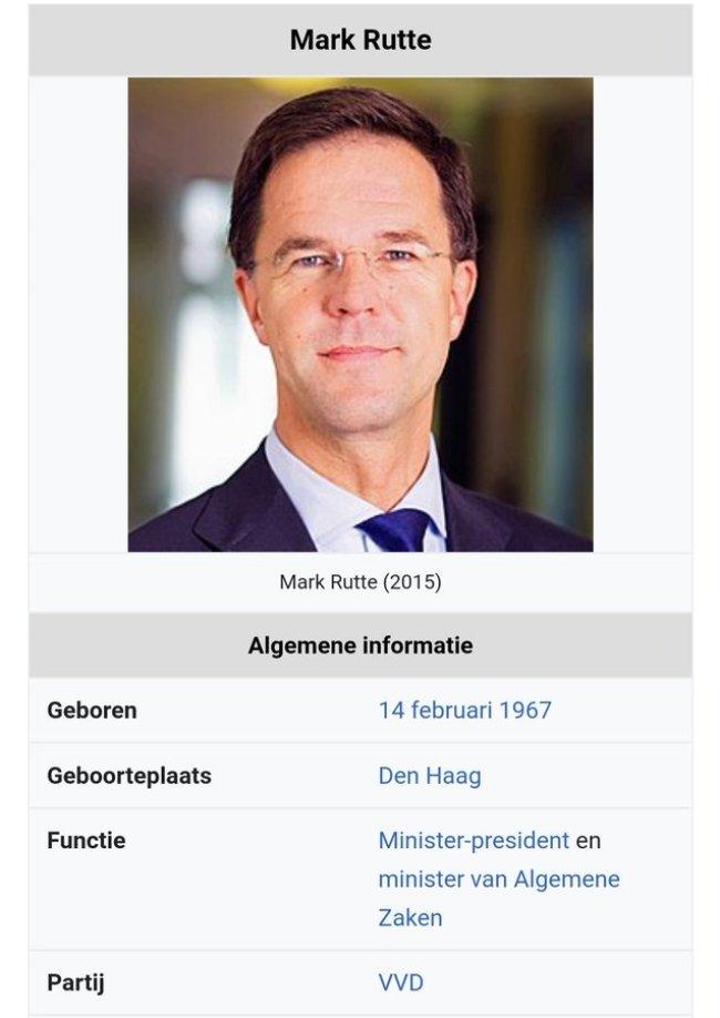 Mark Rutte, geboren 14 februari 1976 (foto Twitter)