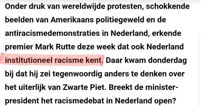 Nederland kent institutioneel rascisme (foto Twitter)