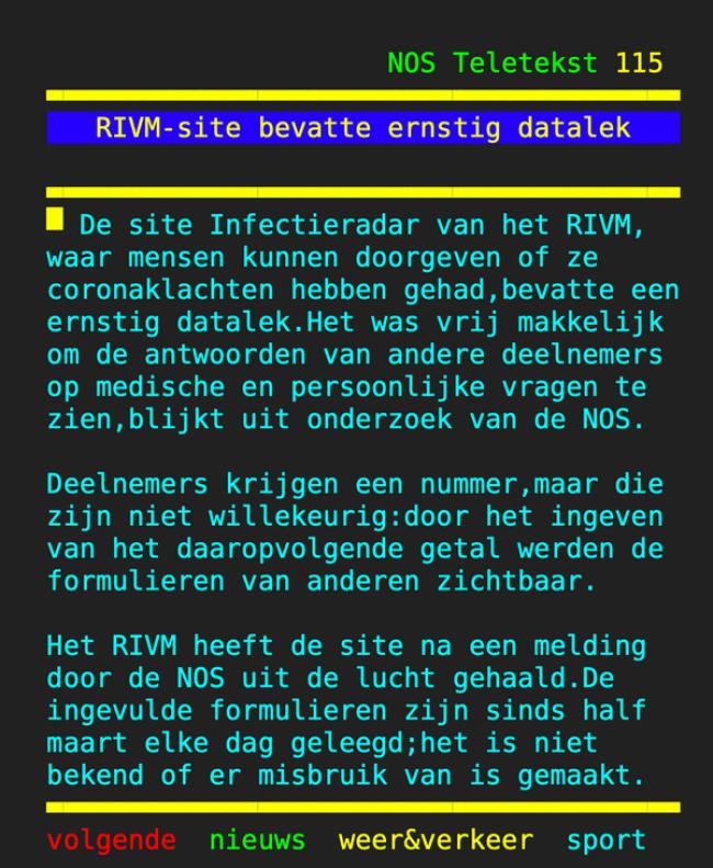 RIVM site bevatte ernstig datalek (foto NOS Teletext0