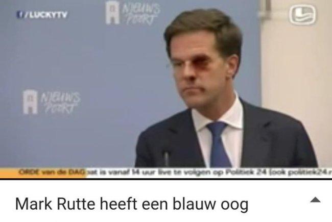 Rutte heeft een blauw oog! (foto Twitter)