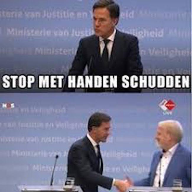 Stop met handen schudden (foto Twitter)