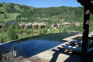 Swimming Pool Custom Swimming Pool Stone Coping Entry Steps Infinity Edge Automatic Pool Cover Aspen Colorado