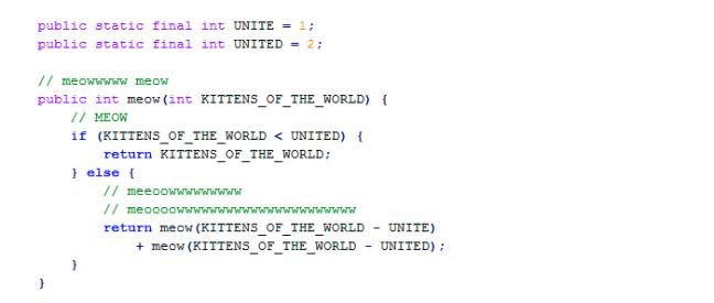Código feito por um gato