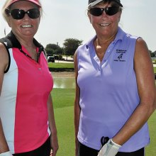 Wildhorse Lady Niner President Jane Thompson, right, welcomes 111th member Judy Trueblood to the Organization.