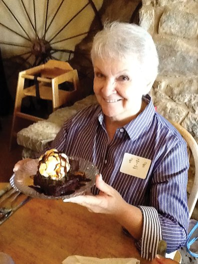 Barbara Runner and dessert at Lazy Heart Grill.