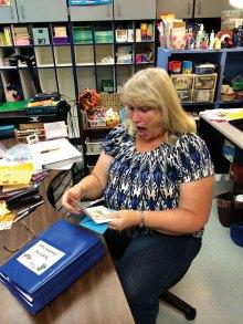Borman Elementary teacher receives a thank you gift.