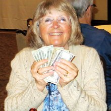 "Trudi Peterson getting that natural ""high"" from her two Bingo wins"