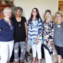 Dawn Schiegg, Judie Smothers, Lori Humphries, Carolyn Detjen and Trinka Taylor enjoy a morning together at Happy Potters annual meeting.