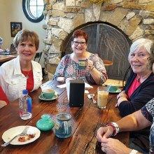 Judy Loomis, Mala Bowdouris, Gayle Coe, Nanci Zipes and Phyllis Ayers at the coffee house