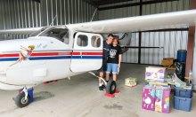 Donations were flown to help survivors of Hurricane Harvey.