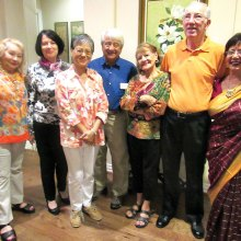 Salette Ogren, sunshine person from Brazil; Marie-Christine Koop, president from France; Jennie Chiang; treasurer from Hong Kong; Fred Van Naerssen, past president from Netherlands; hosts Stella and Ken Smith; and Rupa Mathur, vice president from India.