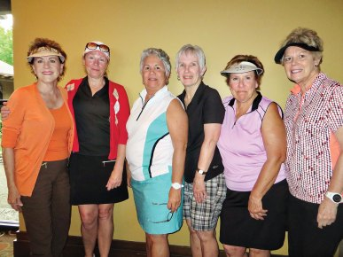 Flight 5 winners (from left to right): Sharon Valentine, Mary Burke, Margaret Erwin, Marianne Diliberto, Donna Slater and Pat Knight.
