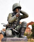 Commemorative statue to the Code Talkers.