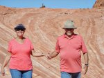 Don and Jaine Toth walking on the path to the fire wave at Valley of Fire State Park.
