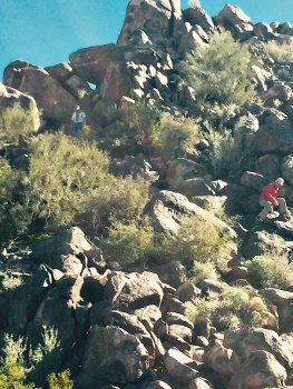 Fred Koser and Dan Kandel, near the top, climbing to get a better view