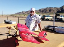 Dennis Linsday with his Slow Stick Bi-Plane aircraft