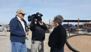 Rod Haberer of Channel 10 interviews Carol Peril.