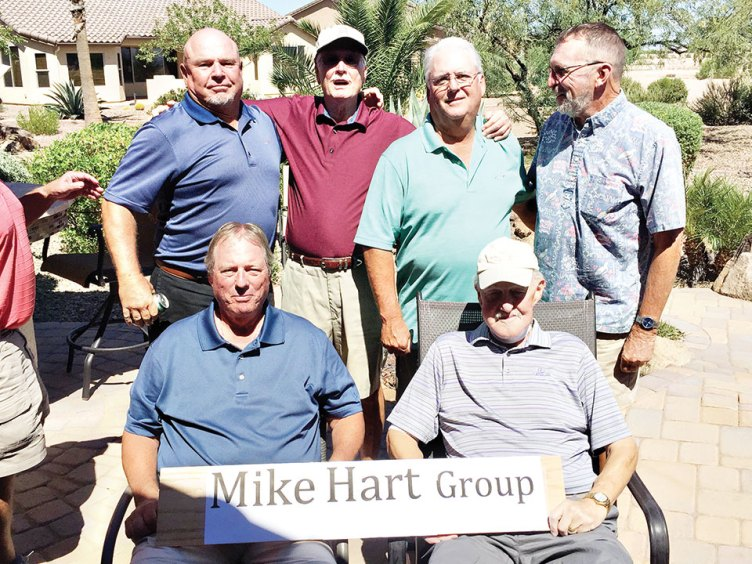 Members of the Mike Hart group including Mike Hart, front row, right