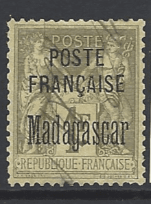 SG 22. Pen Cancelled. French Pos in Madagascar. French Colonies Stamps