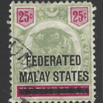Federated Malay States, SG 7,. Note: A little Faded and Blunt Corner.