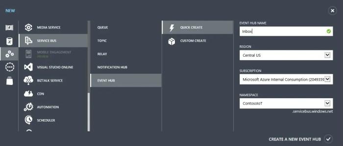 Create Event Hub Quick Create
