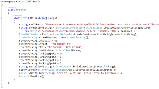Event Hub Sender Code