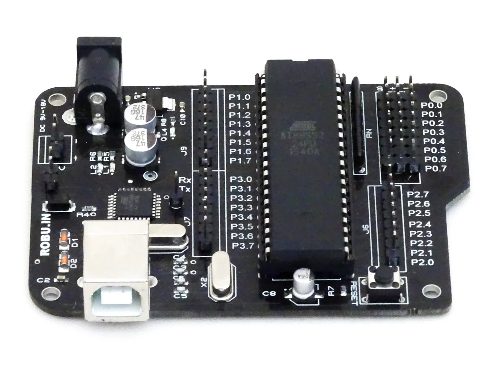 hight resolution of aryabhatta 8051 development board at89s52 with onboard usb programmer